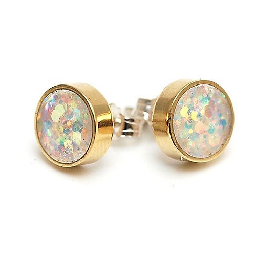 Brass and Glitter Studs in Iridescent