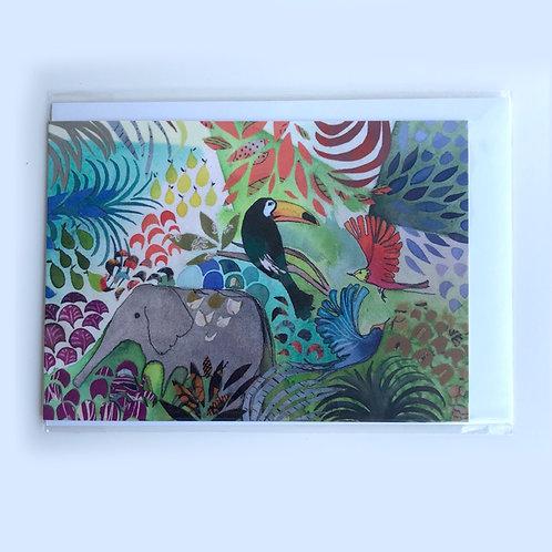 Elephant & Toucan Jungle Card
