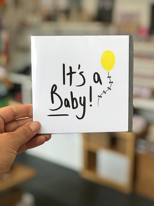 It's a baby! Yellow Balloon Greetings Card