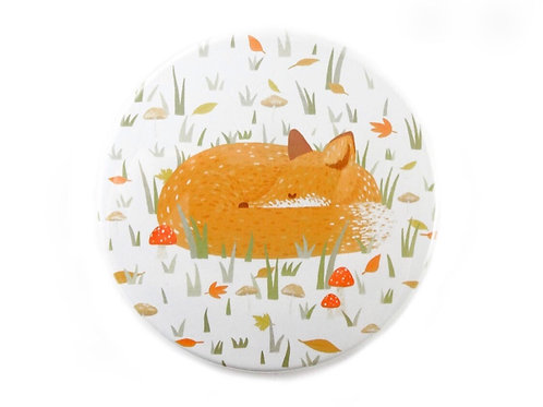Sleeping Fox Pocket Mirror