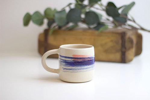 Wheel Thrown Handmade Stoneware Ceramic Mug - Lines