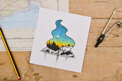 Waterfall and Ballooon Card