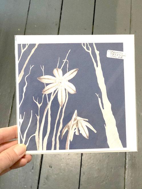 "Forrest Flowers Card saying ""Season Greetings"" inside"