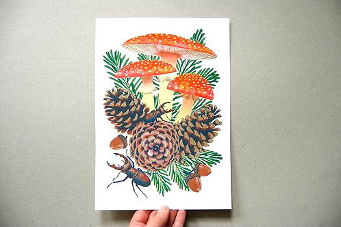 Fly Agaric Riso Print - A4