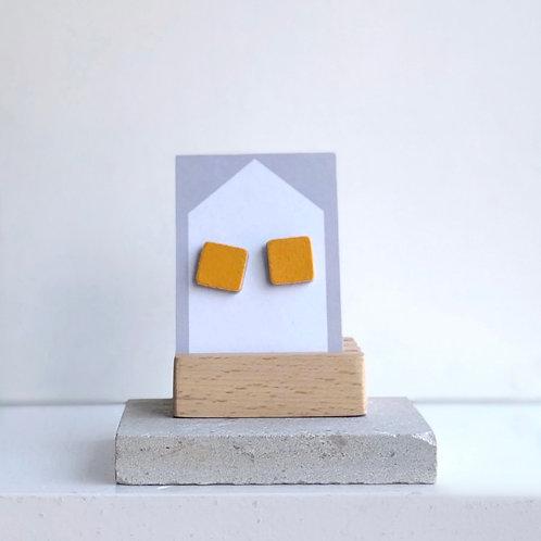 Yellow Square Stud Earrings
