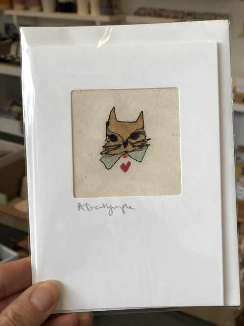 Embroidered Card - Fox & Bow tie