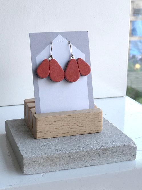 Rust Red Scallop Earrings
