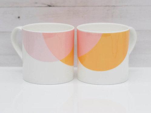 Orange | Pink Dip Bone China Mug