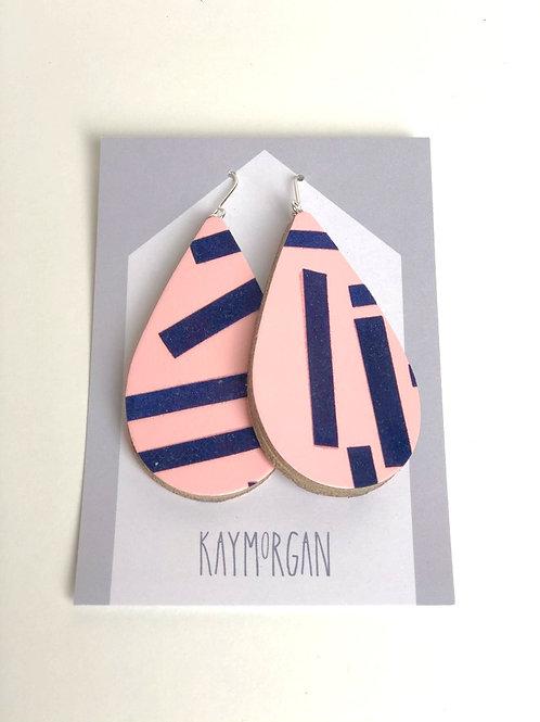 Large Tier Drop Earrings - Pink/Navy