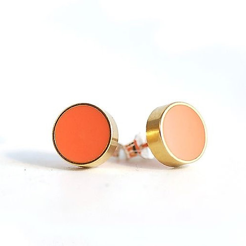 Circle Stud Earrings - CORAL