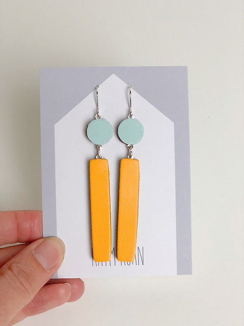 Long Block Earring - Plue/Yellow