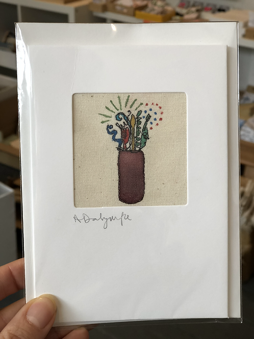 Embroidered Card - Vase & Flowers