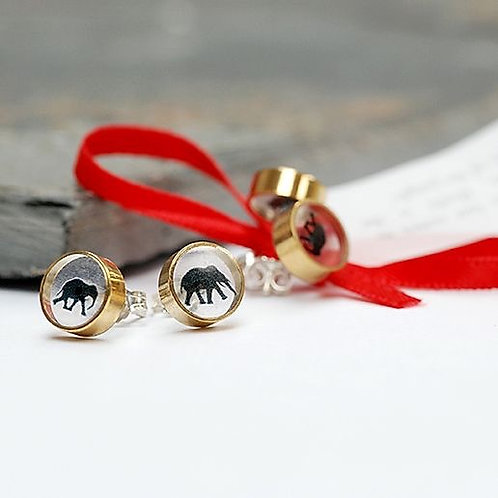 'Hathi' the elephant round brass and resin studs