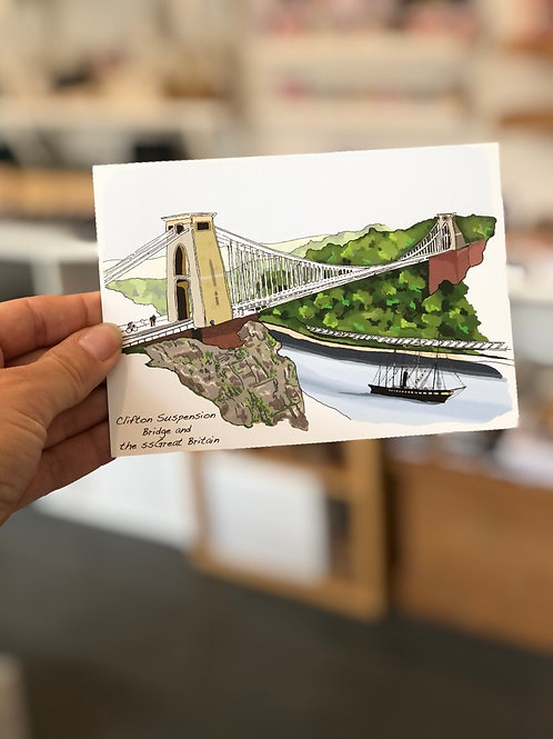 ss Great Britain & the Suspension Bridge Postcard