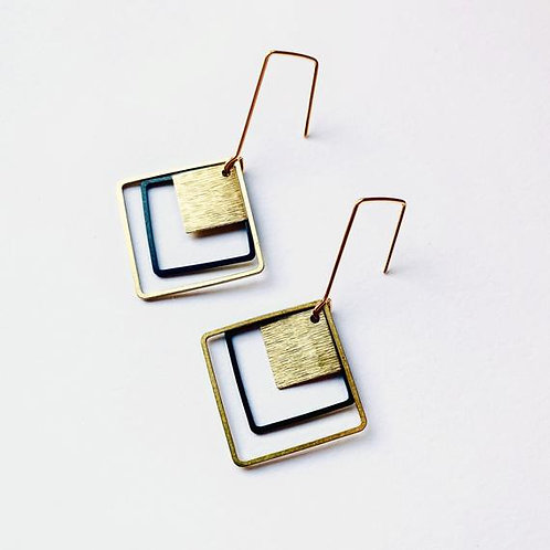 Contrasting black & raw brass square earrings