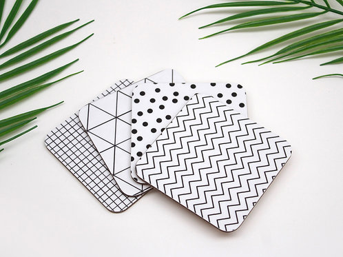 Set of Monochrome Coasters