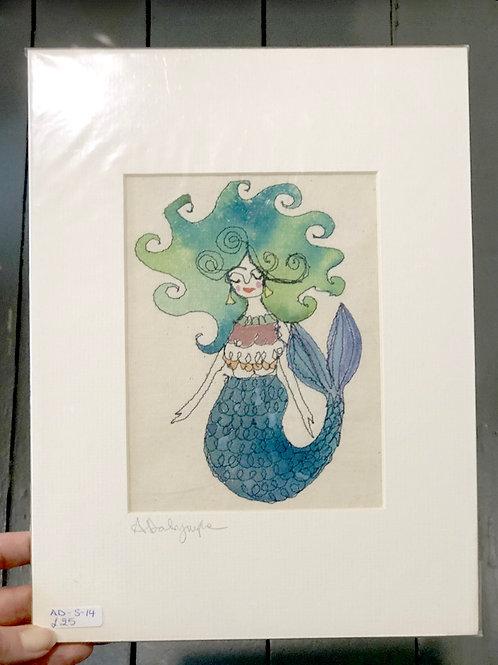 Mermaid with Blue/Green hair - Original Embroydery