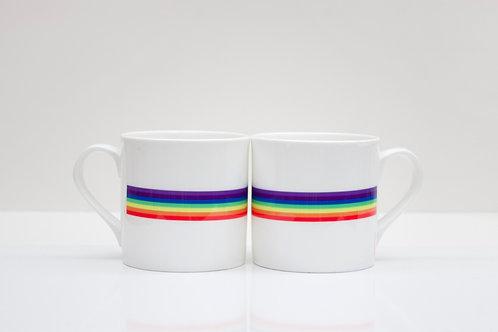 Retro Rainbow Bone China Mug