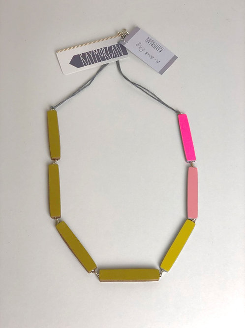 Block Leather Necklace - Olive/Pink
