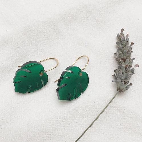 Mini Monstera Drop Earrings - Green