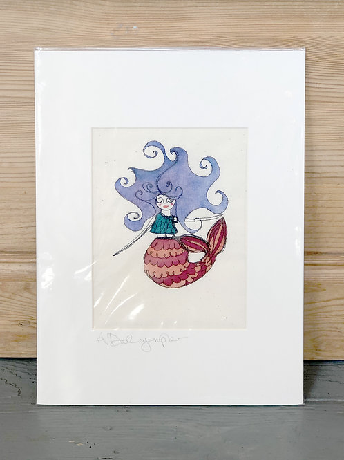 Embroidered & hand painted Mermaid with blue hair