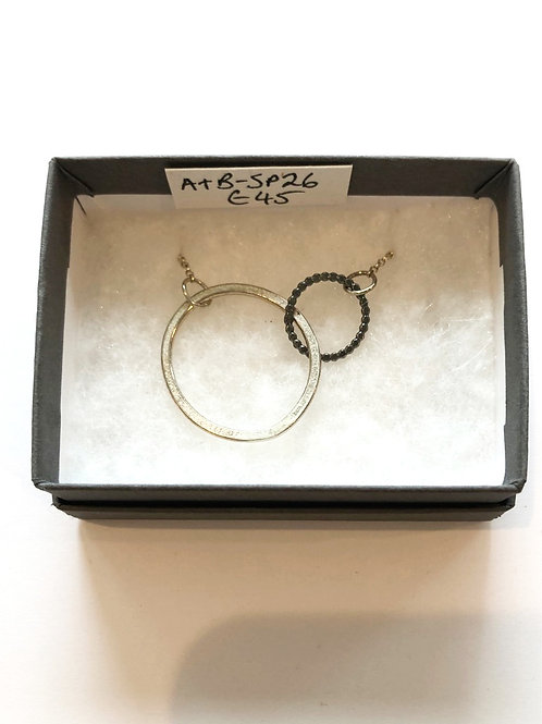 Large Silver Circle and Small oxadised Circle necklace
