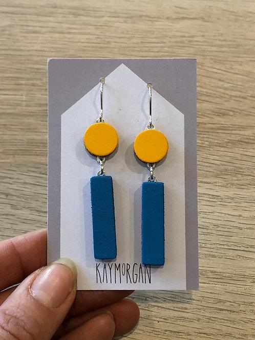 Block Earrings - Yellow/Blue