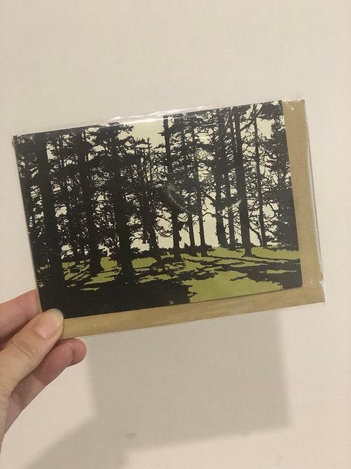 Green Trees Greetings Card