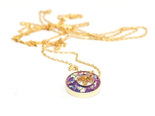 Glitter and Brass Necklace in Sherbert
