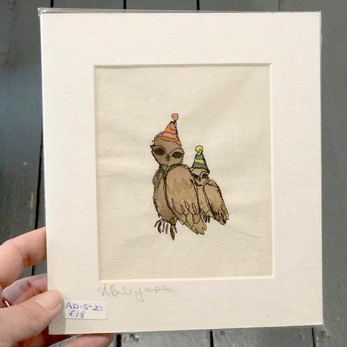 Two Owls Original Embroydery