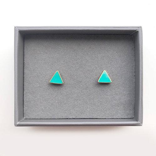 Triangle Stud Earrings - Turquoise