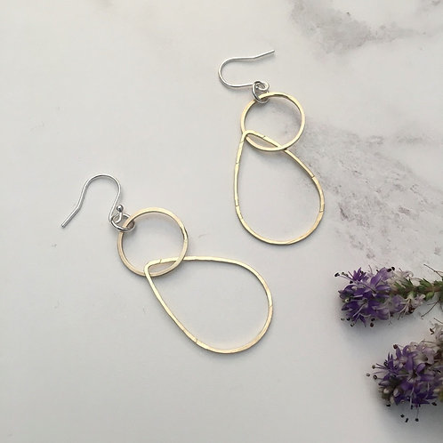 Brass circle and teardrop Earrings