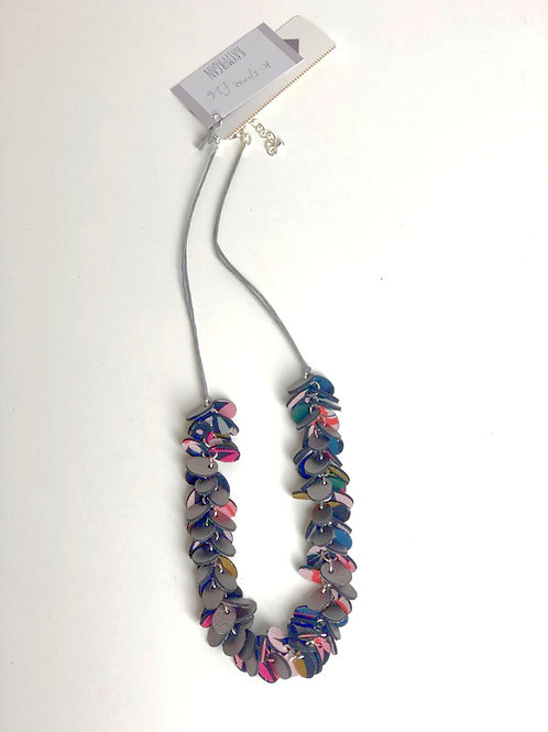 Oval Punch Leather Necklace - Black & multicoloured