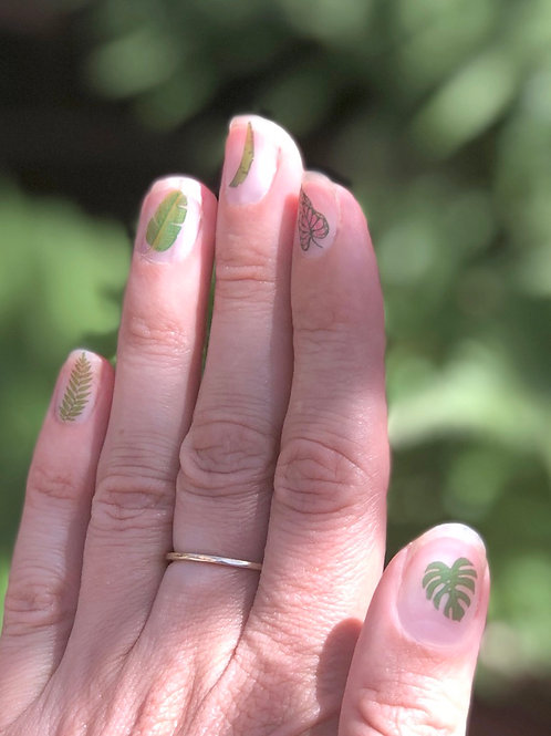 Pack of tropical leaf Nail Transfers