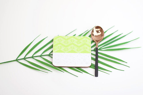 Sgraffito Lime Leaf Coaster