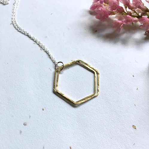 Brass Double Hexagon Necklace