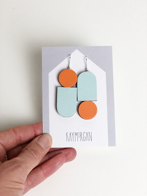 Totem Earrings - Blue/Orange