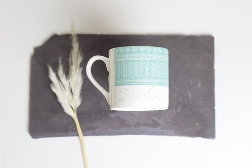 Sgraffito Blue Sea Bone China Mug