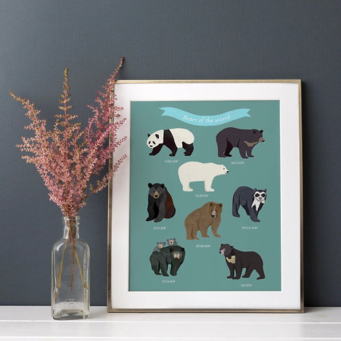 Bears of the World Print  (Unframed)