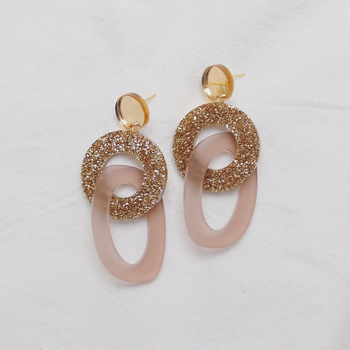 Rothko Statement Earrings - Gold & Nude