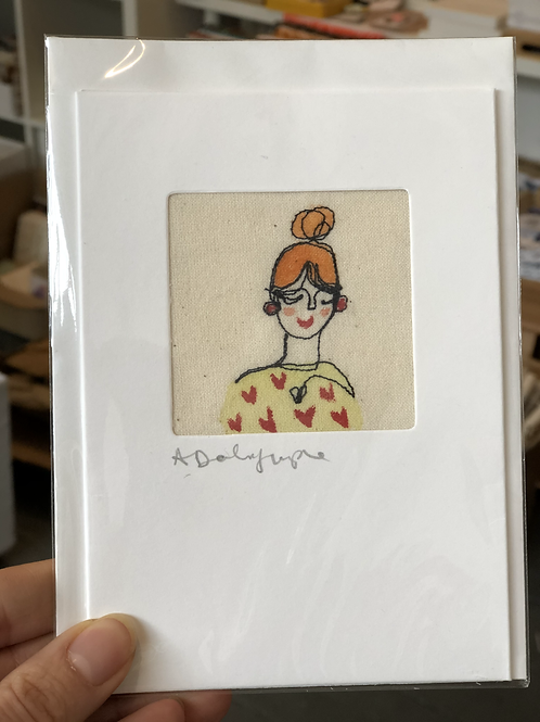 Embroidered Card - Woman