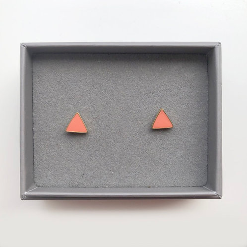 Triangle Stud Earrings - CORAL