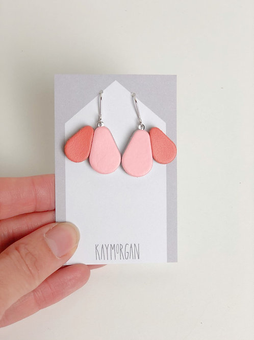 Scallop Earrings - Pink/Orange