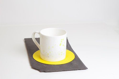 Yellow Splatter Bone China Mug