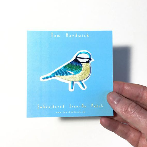 Blue Tit Embroidered Iron-on patch