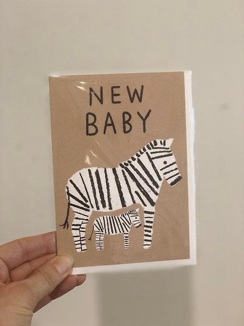 New Baby Zebra Card