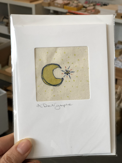 Embroidered Card - Moon