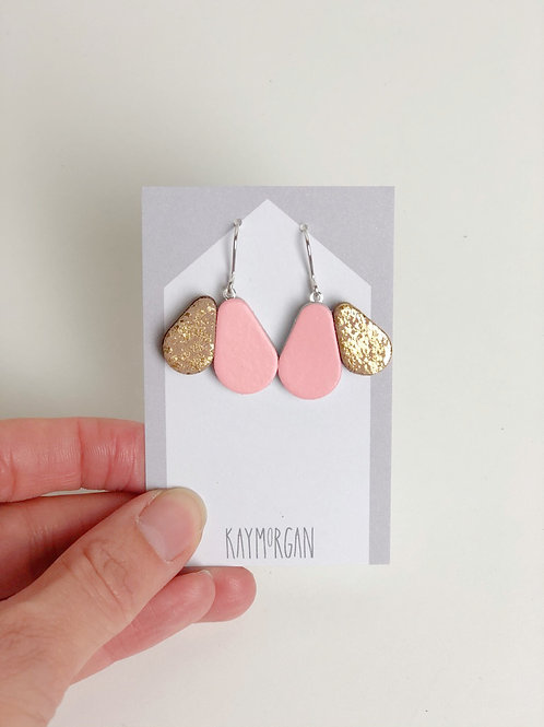 Scallop Earrings - Pink/Gold