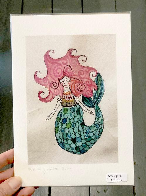 Mermaid with pink hair Digital Print