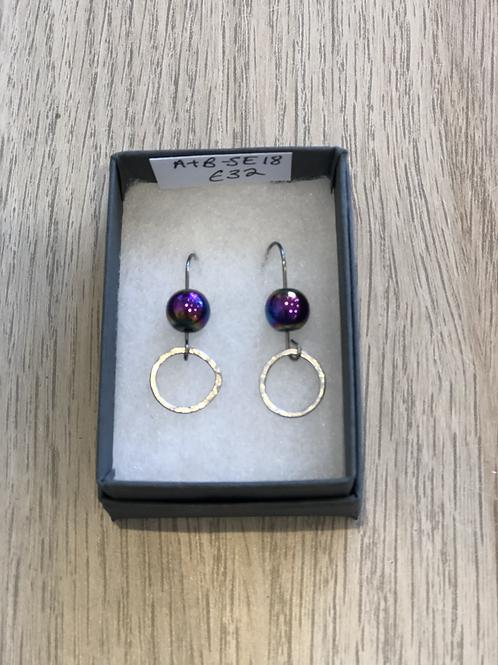Circle & Rainbow Hematite Bead Earring